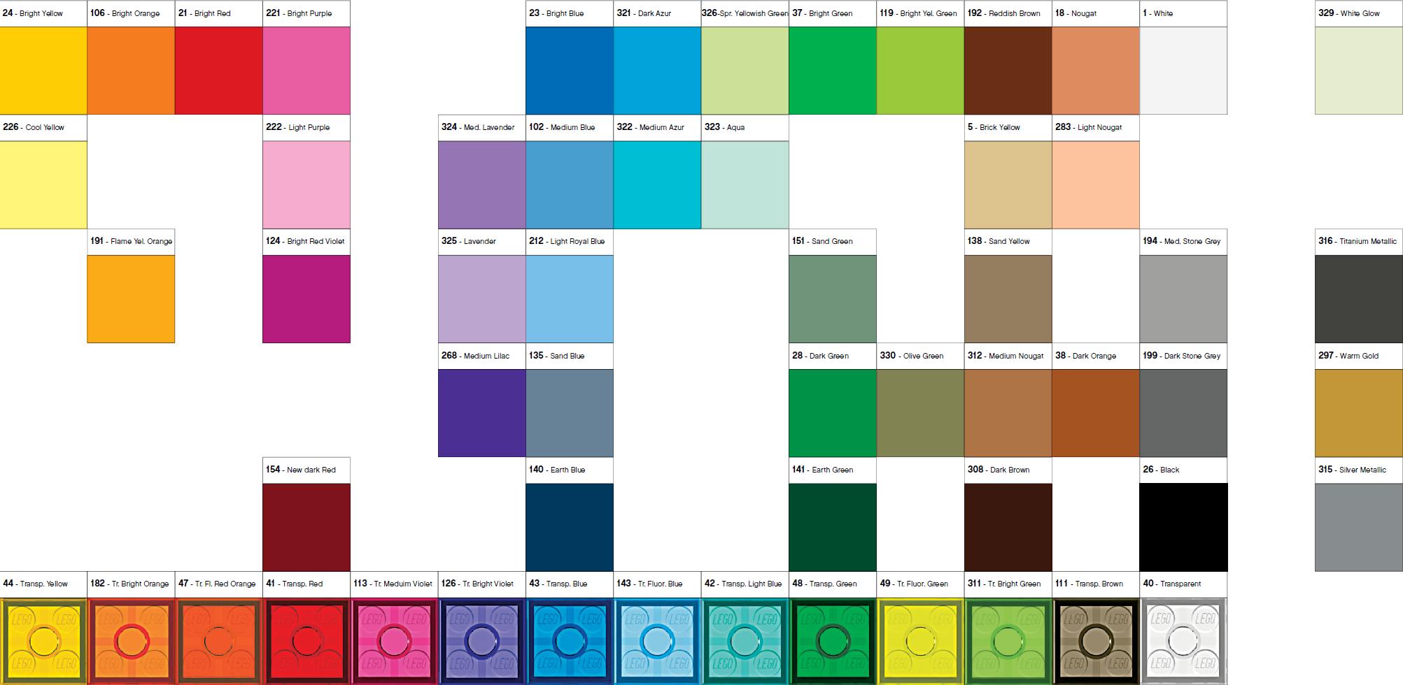 Moulding colour palette 2016 | Brickset: LEGO set guide ...